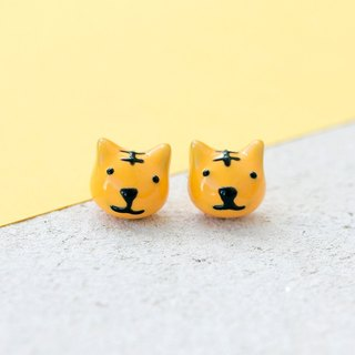 Tiger Earrings with 925 Sterling Silver Post