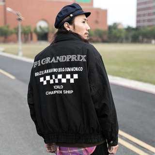 [3thclub Ming Ren Tang] F1 Formula One racing jacket windproof checkerboard vintage F1-003