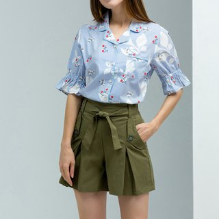 NEGA C. Vacation Style Printed Rolled V-neck Sleeve Shirt - Blue