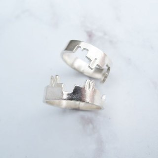 Big staff Taipa [manual × custom × DIY] tie sterling silver couple ring (pair)