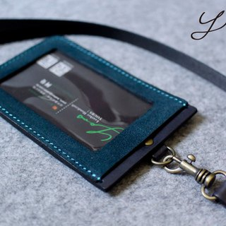 YOURS Straight ID Card Holder (with neck strap) Blue and blue suede + gray-blue leather