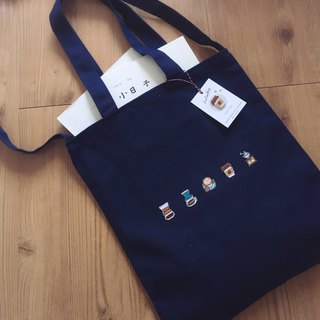 [Littdlework] coffee-controlled Japanese embroidery zipper canvas bag + embroidered badge