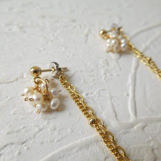 Pack 14K gold pearl before and after tassel earrings