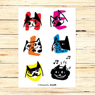 "Wanying Hsu cat down postcard ""HELLO"""