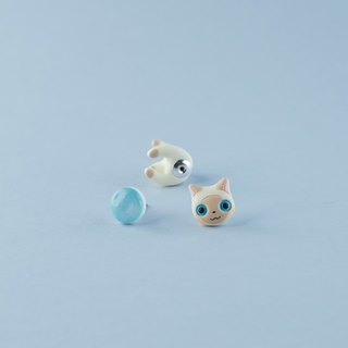 Javanese Cat - Polymer Clay Earrings, Handmade&Handpaited Catlover Gift