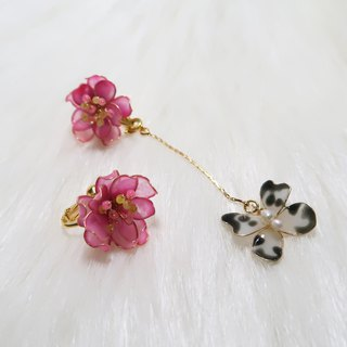 Miss Paranoid Paranoia Miss Little Peach Blossom and Butterfly Asymmetric Dangle Resin Earrings
