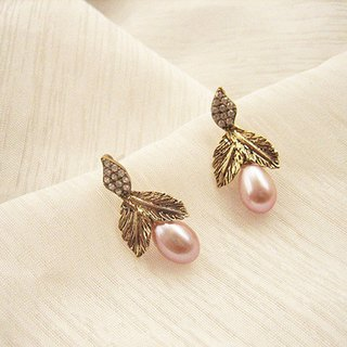 Double-leaf fruit freshwater pearl leaf type diamond earrings