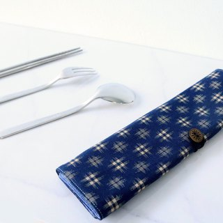 Big and cutlery bag - blue woven