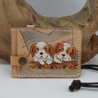 Three-layer leather card holder document set best partner hair child