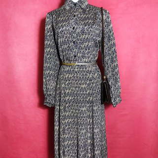 Totem glossy long-sleeved vintage dress / brought back to VINTAGE abroad