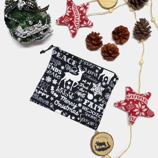 Chalkboard Christmas Words Small Zippered Bag / Catch All Bag stores charger cords/ cosmetic bag / Zippered Pouch / Small Pouch / coin purse / storage pouch / earphone holder / bag tidy
