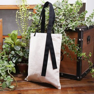 White canvas straight bag | Black strap