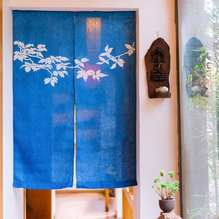 New leaf curtain handmade grass dyed blue dyed indigo type dyed original design linen Chinese style Japanese partition curtain
