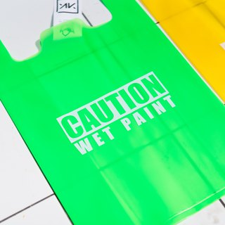 Plastic Bag / Caution Wet Paint / Green
