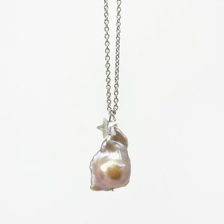 Unique Asymmetrical Baroque Pearl Necklace on Stainless Steel Chain