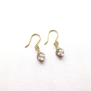Princess-Brass zircon earrings