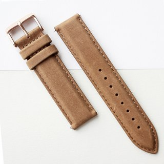 【PICONO】Quick release brown leather strap - Rosergold buckle