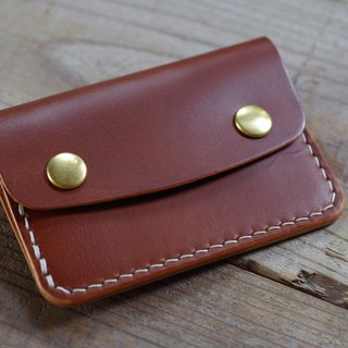 Hand sewn card case Brown