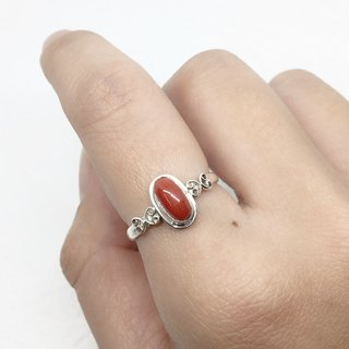 Coral stone 925 sterling silver heart-shaped design ring Nepal handmade mosaic production