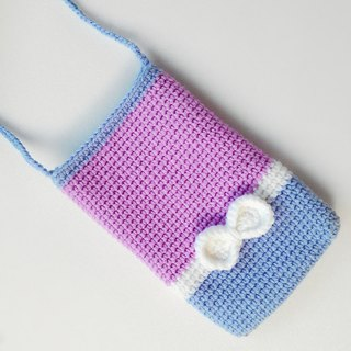 [Seashells purple taro bow] wool cell phone bag oblique backpack