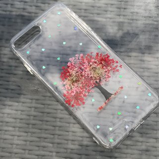 iPhone 7 Plus Handmade Pressed Flowers Case Red Tree case 026