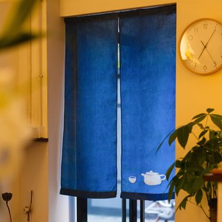Eat tea to the curtain, hand-made grass dyed blue dyed indigo type dyed original design linen Chinese-style Japanese curtain
