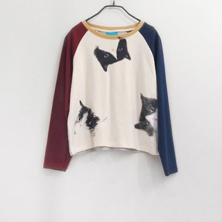 cat cat cat long sleeve - crop top - Red Navy