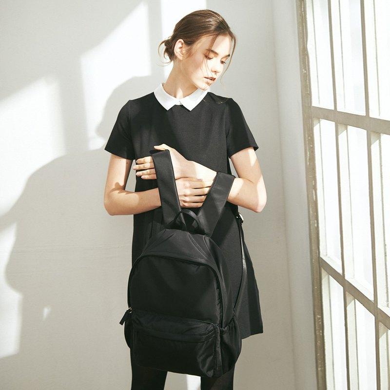 Amina 防潑水尼龍 後背包 (不含內袋)【黑】