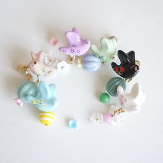 [Horns forest] floral wings happy wild lily light blue single earrings / ear clip