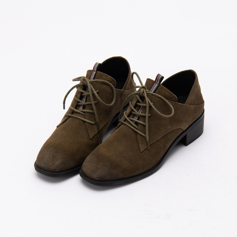 [City tab] full leather side V mouth scoring mid-heel shoes _ Lyon Forest