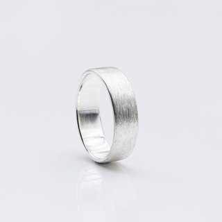 Brushed Silver Sterling Silver Ring L (Single)