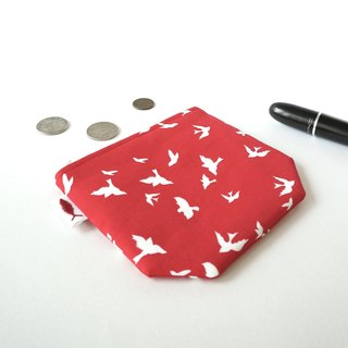 / Fly Birds- red / / corner purse / card storage bag / make-up packets / purse packages