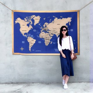 World map hanging tick vintage dark blue