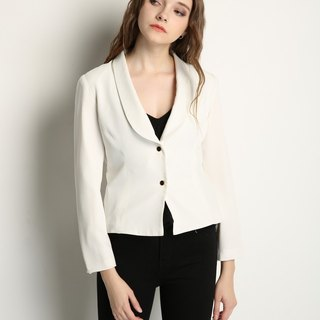 WHITE CHIFFON BLAZER WITH GOLD BUTTONS