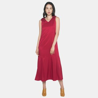 Longline Dress with Shoulder Sash (Red)