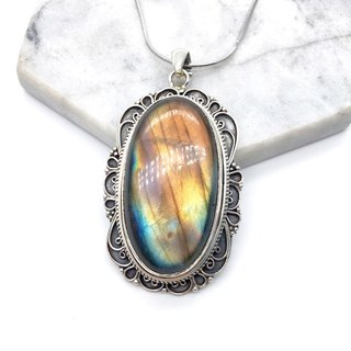 Labradorite 925 sterling silver necklace classic hand-made inlaid Nepal