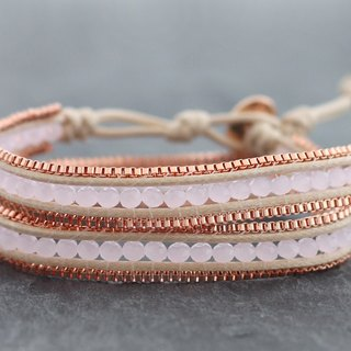 Beaded Woven Rose Quartz Faceted Square Pink Gold Chain Wrap Bracelets