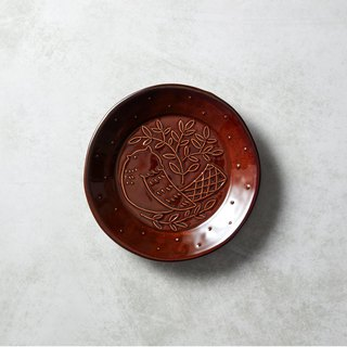 Shimaru Pazomi-yaki - Mori-no-song Round Bird Dish - Tree Coffee