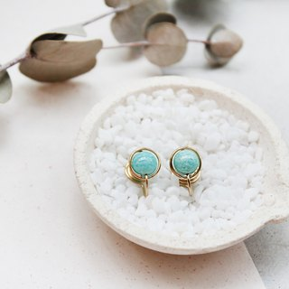 【 Amazonite】classic earring (Customizable clip-on)