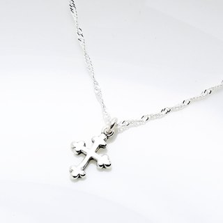 Simple Budded Cross (small) s925 sterling silver necklace Valentine Day gift