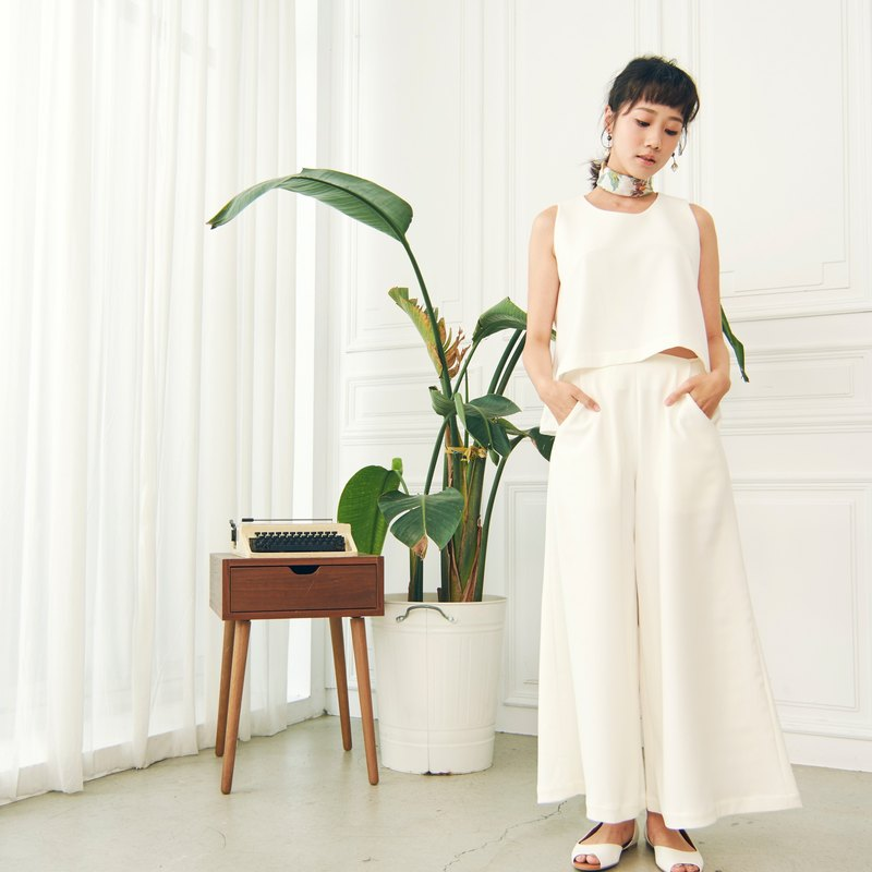 Umbrella wide pants - white