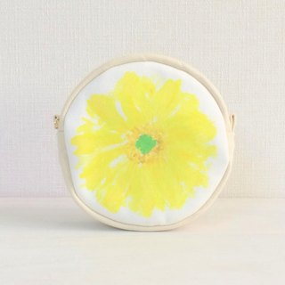 Bloom Flower Circle Pouch Flower Pattern Yellow
