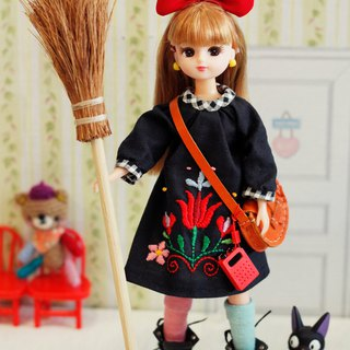 Lika doll size handmade flower embroidery witch dress