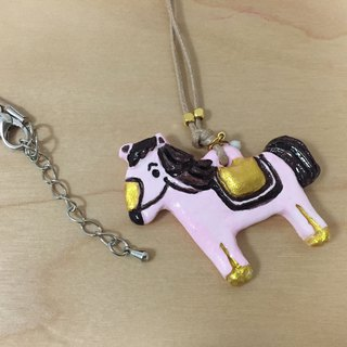 a pink little horse handmade woman fashion necklace from Niyome clay