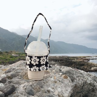 Handmade drink cup bag / small white flower