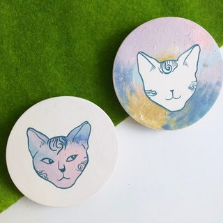 Hand paint ceramic Galaxy Cat -Absorbent Coaster