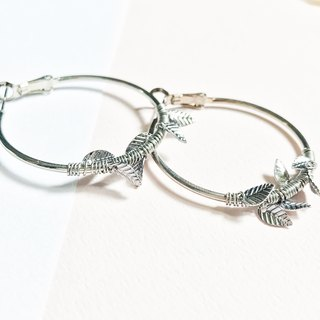 [Day daily] round leaves silver ring earrings