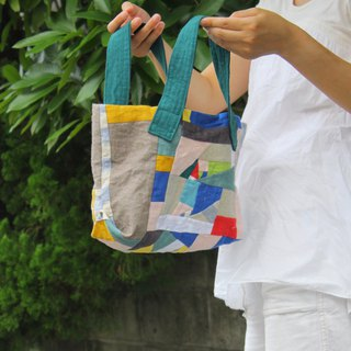 Patchwork of linen  A purse  Shoulder bag.
