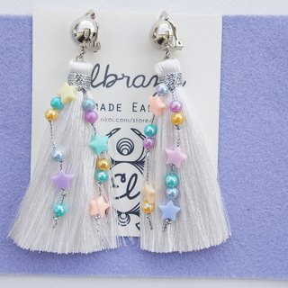 White long tassel with pastel beads earrings