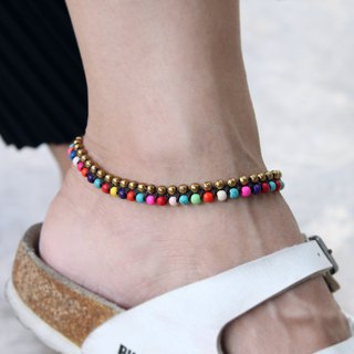 Candy Stone Mix Anklets Beaded Beads Brass Colorful Woven Anklets